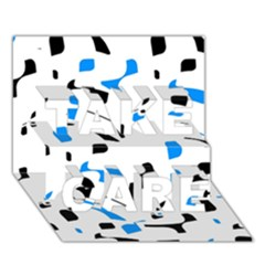 Blue, Black And White Pattern Take Care 3d Greeting Card (7x5)