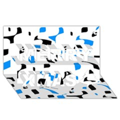 Blue, black and white pattern Merry Xmas 3D Greeting Card (8x4)