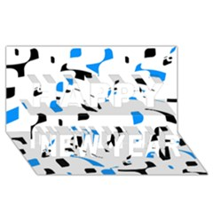 Blue, black and white pattern Happy New Year 3D Greeting Card (8x4)