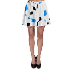 Blue, black and white pattern Skater Skirt