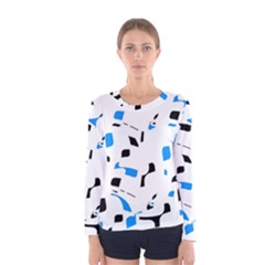 Blue, black and white pattern Women s Long Sleeve Tee
