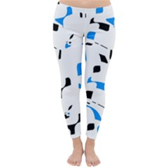 Blue, black and white pattern Winter Leggings