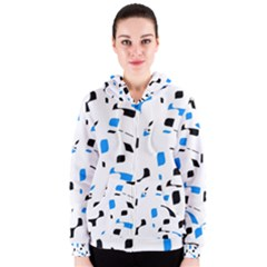 Blue, black and white pattern Women s Zipper Hoodie