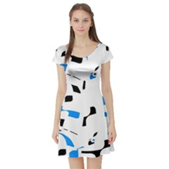 Blue, black and white pattern Short Sleeve Skater Dress