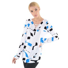 Blue, black and white pattern Women s Tie Up Tee