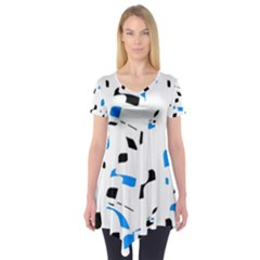 Blue, Black And White Pattern Short Sleeve Tunic