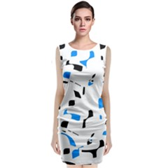 Blue, black and white pattern Classic Sleeveless Midi Dress