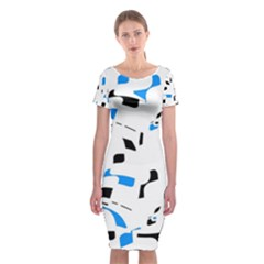 Blue, black and white pattern Classic Short Sleeve Midi Dress