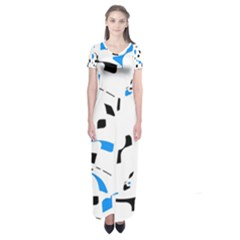 Blue, black and white pattern Short Sleeve Maxi Dress