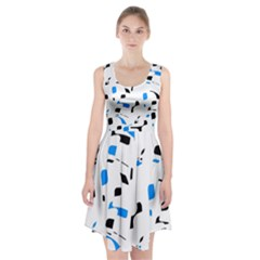 Blue, Black And White Pattern Racerback Midi Dress