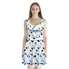 Blue, black and white pattern Split Back Mini Dress