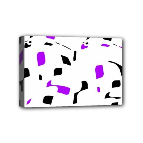 Purple, black and white pattern Mini Canvas 6  x 4
