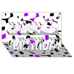 Purple, black and white pattern Happy Birthday 3D Greeting Card (8x4)
