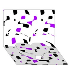 Purple, black and white pattern Heart Bottom 3D Greeting Card (7x5)