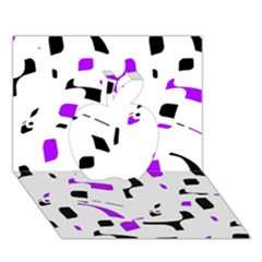 Purple, black and white pattern Apple 3D Greeting Card (7x5)