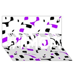 Purple, black and white pattern #1 MOM 3D Greeting Cards (8x4)