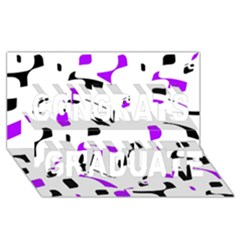 Purple, Black And White Pattern Congrats Graduate 3d Greeting Card (8x4)