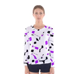 Purple, black and white pattern Women s Long Sleeve Tee