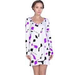 Purple, black and white pattern Long Sleeve Nightdress