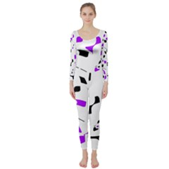 Purple, black and white pattern Long Sleeve Catsuit