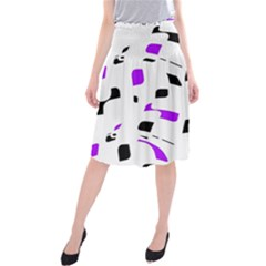 Purple, black and white pattern Midi Beach Skirt