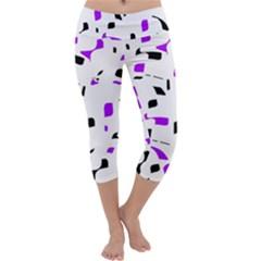 Purple, black and white pattern Capri Yoga Leggings