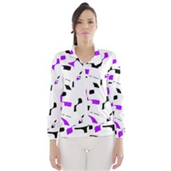 Purple, black and white pattern Wind Breaker (Women)