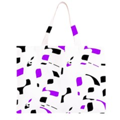 Purple, black and white pattern Large Tote Bag