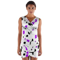 Purple, black and white pattern Wrap Front Bodycon Dress