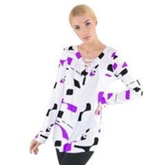 Purple, black and white pattern Women s Tie Up Tee