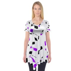 Purple, black and white pattern Short Sleeve Tunic