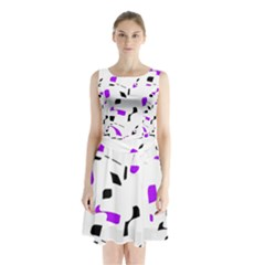 Purple, Black And White Pattern Sleeveless Waist Tie Dress