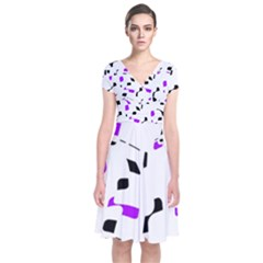 Purple, Black And White Pattern Short Sleeve Front Wrap Dress