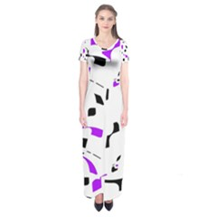 Purple, black and white pattern Short Sleeve Maxi Dress