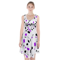 Purple, black and white pattern Racerback Midi Dress