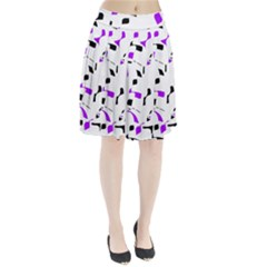 Purple, black and white pattern Pleated Skirt