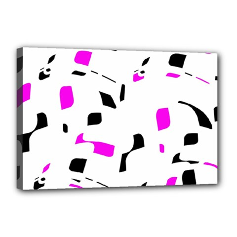Magenta, black and white pattern Canvas 18  x 12
