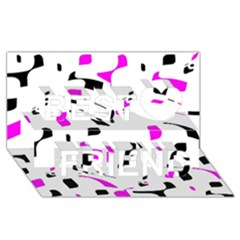 Magenta, black and white pattern Best Friends 3D Greeting Card (8x4)