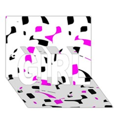 Magenta, black and white pattern GIRL 3D Greeting Card (7x5)