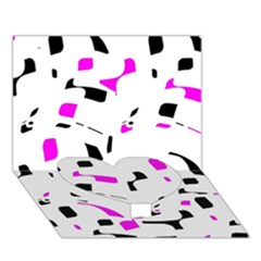 Magenta, black and white pattern Heart Bottom 3D Greeting Card (7x5)