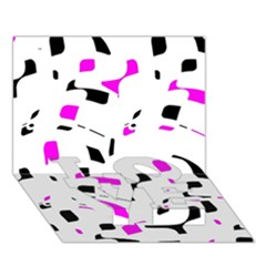 Magenta, Black And White Pattern Love Bottom 3d Greeting Card (7x5)
