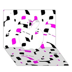 Magenta, black and white pattern Apple 3D Greeting Card (7x5)