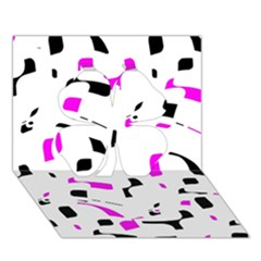Magenta, black and white pattern Clover 3D Greeting Card (7x5)