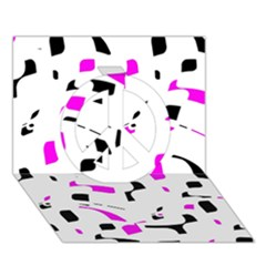 Magenta, black and white pattern Peace Sign 3D Greeting Card (7x5)