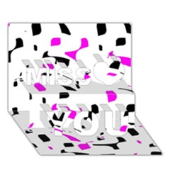 Magenta, Black And White Pattern Miss You 3d Greeting Card (7x5)