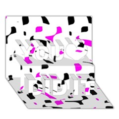 Magenta, black and white pattern You Did It 3D Greeting Card (7x5)