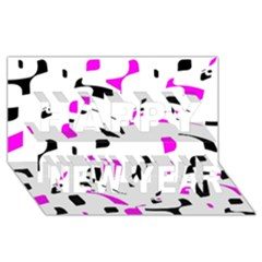Magenta, black and white pattern Happy New Year 3D Greeting Card (8x4)