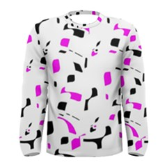 Magenta, black and white pattern Men s Long Sleeve Tee