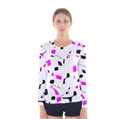 Magenta, black and white pattern Women s Long Sleeve Tee