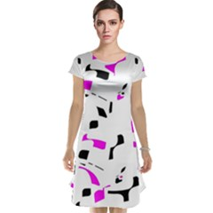 Magenta, black and white pattern Cap Sleeve Nightdress